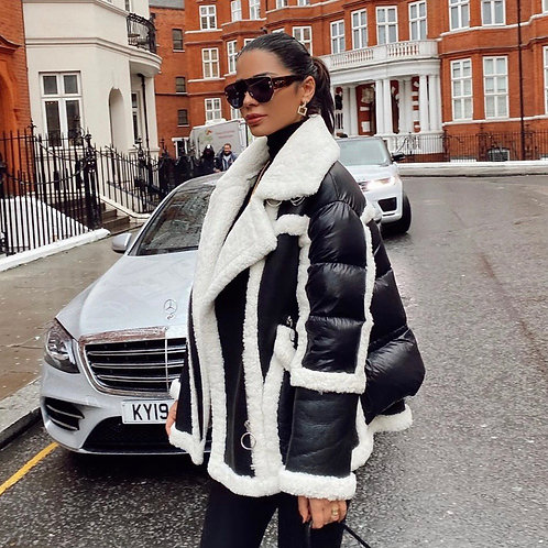 Teddy Faux Fur Soft Leather Coat