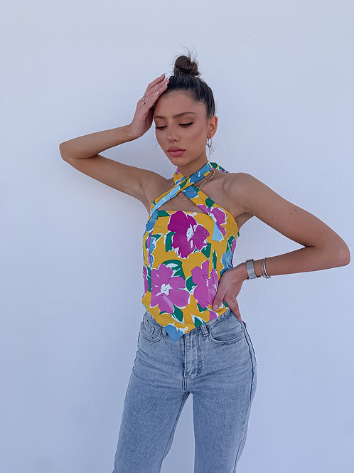 Mary Floral Top - Orange