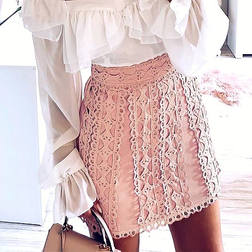 Kerrie Lace Embroidery Short Skirt
