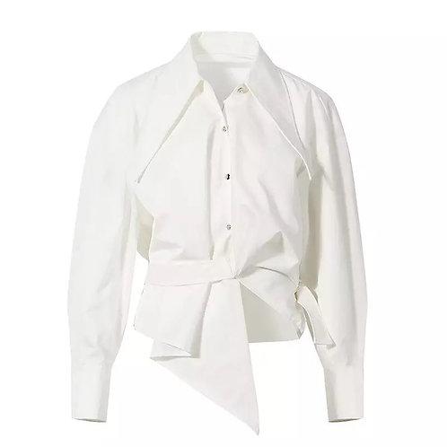 White Belted Elegant Shirt