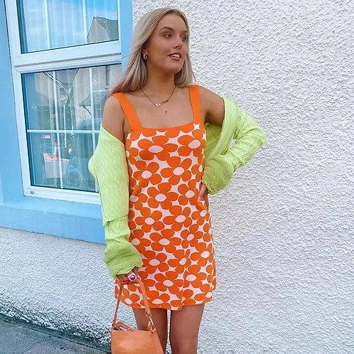 Donia Floral Summer Dress - Orange