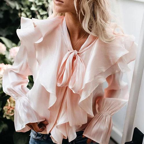 Swan Ruffle Silk Shirt