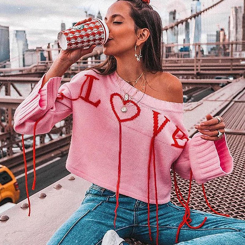 Panter Love Letter Print Sweater