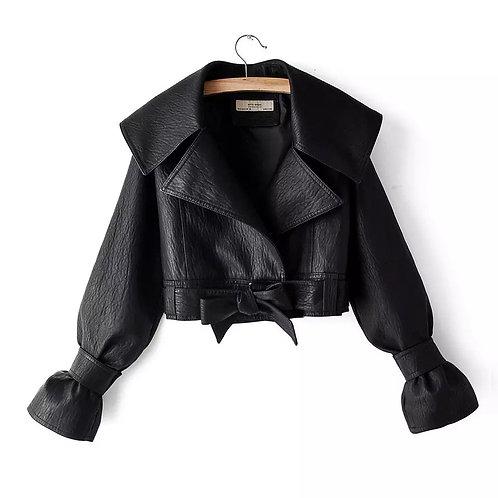Hanna Leather Cropped Jacket