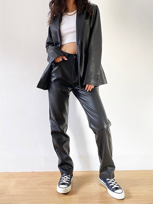 Billy Leather Straight Leg Pants