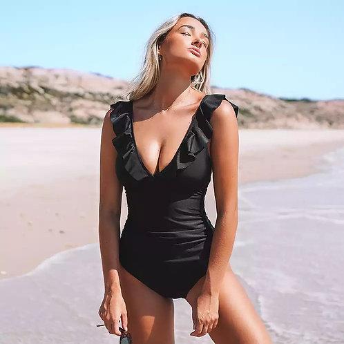 Rettraw Ruffles Black Swimsuit