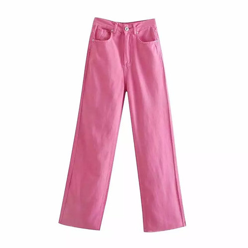 Pink Straight Leg High Waisted Denim