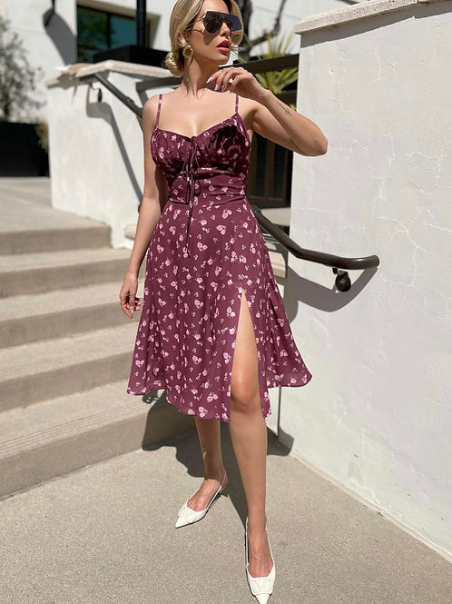 Brown Sexy Floral Dress