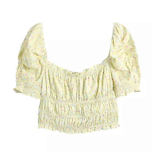 Floral Cropped Yellow Top