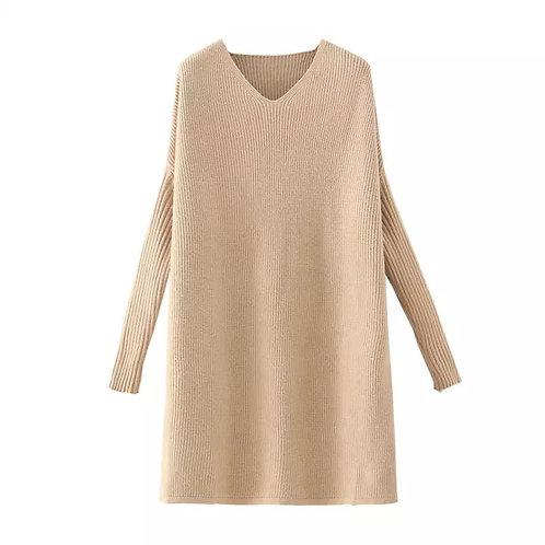 Knitted Basic Dress - Beige