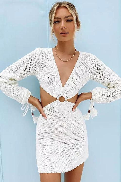 White Cut Out Beach Dress