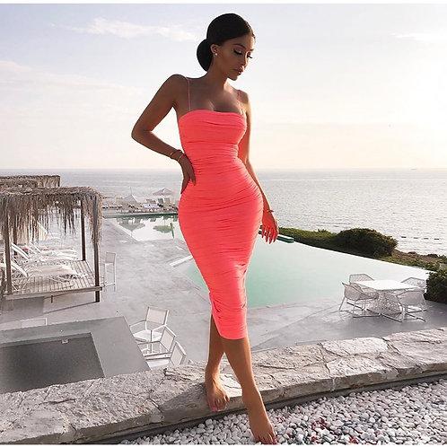 Taylor Bodycon Summer Dress - Peach