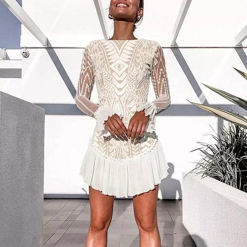 Sophia Elegant Ruffled Lace Dress