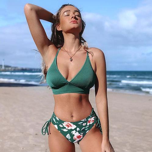 Rettraw Green Mid Waist Bikini