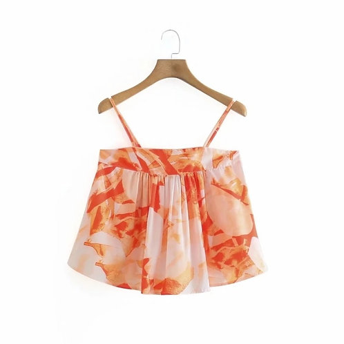 Orange Printed Summer Flare Top