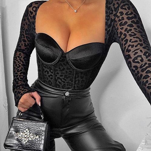 Criss Leopard Mesh bodysuit