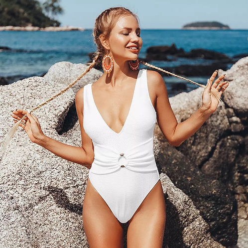 Rettraw White Belted Swimsuit