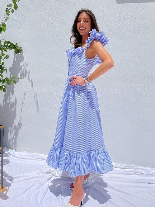 Macy Blue Stripped Summer Dress