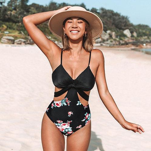 Rettraw Black Floral Cut Out Swimsuit