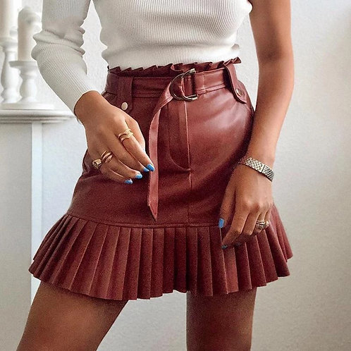 Hanna Belted Faux Leather Mini Skirt