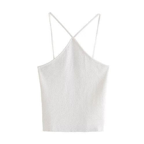 White Cress Cross Basic Top