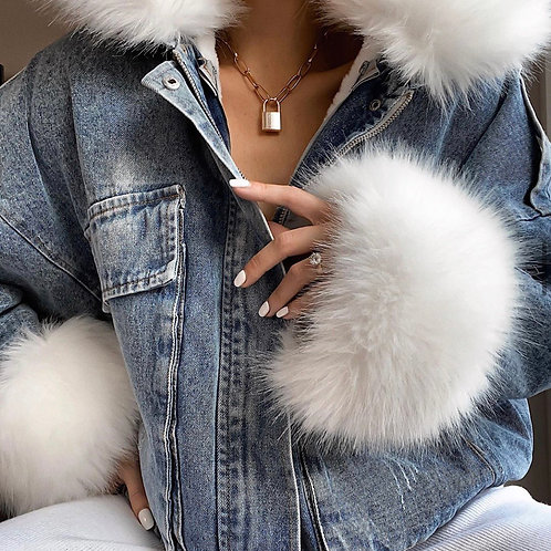 Whitny Fur Denim Coat