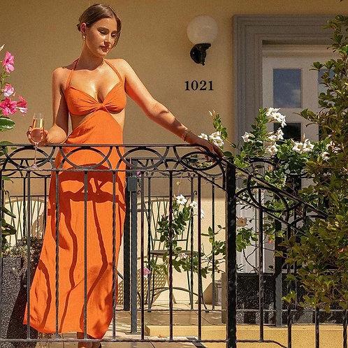 Orange Cut Out Beach Dress