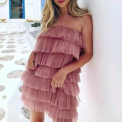 Lilian Sexy Ruffles Halter Short Dress