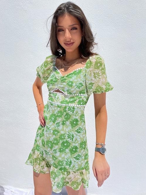 Tina Floral Green Summer Dress