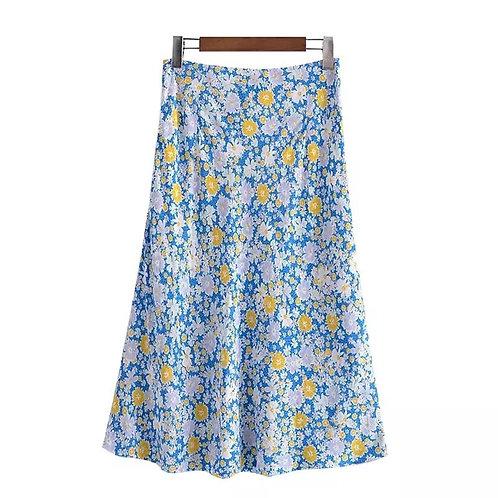 Spring Floral Midi Skirt