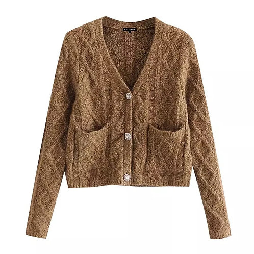 Vicky Cropped Knitted Cardigan