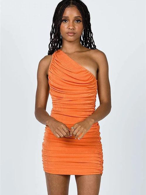 Taya One Shoulder Dress - Orange