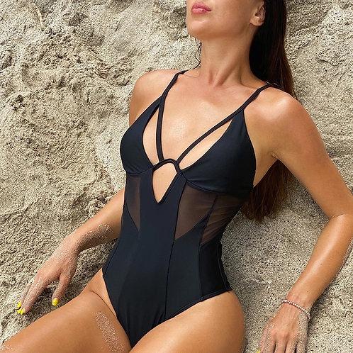 Heiln Black One Piece Swimsuit