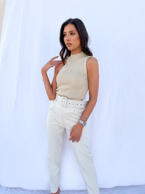 Vicky Belted Trousers - Beige