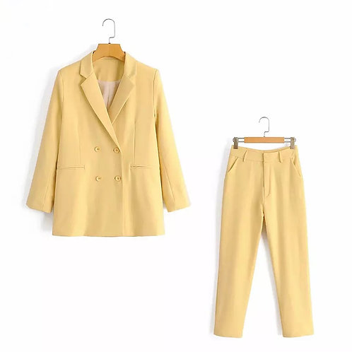 Yellow Chic Summer Suit