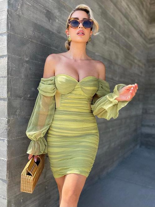 Emile Ruched Green Dress