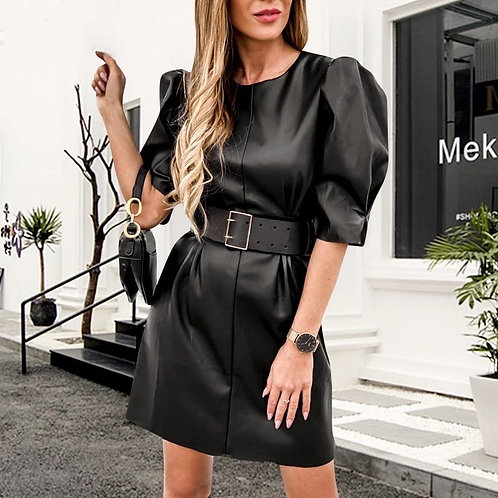 Viena Puff sleeves Leather Dress