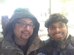 Arnab & Rutu enjoying NYC snow