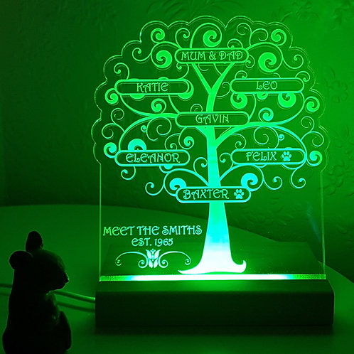 FAMILY TREE MULTI COLOURED LED LIGHT
