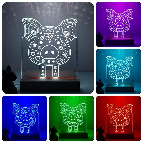 PIG MULTI COLOURED LED LIGHT