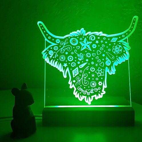 HIGHLAND COW MULTI COLOURED LED LIGHT