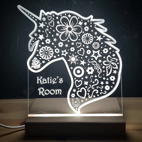 UNICORN HEAD ROOM PLAQUE LED LIGHT