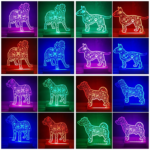 ANY DOG BREED MULTI COLOURED LIGHT