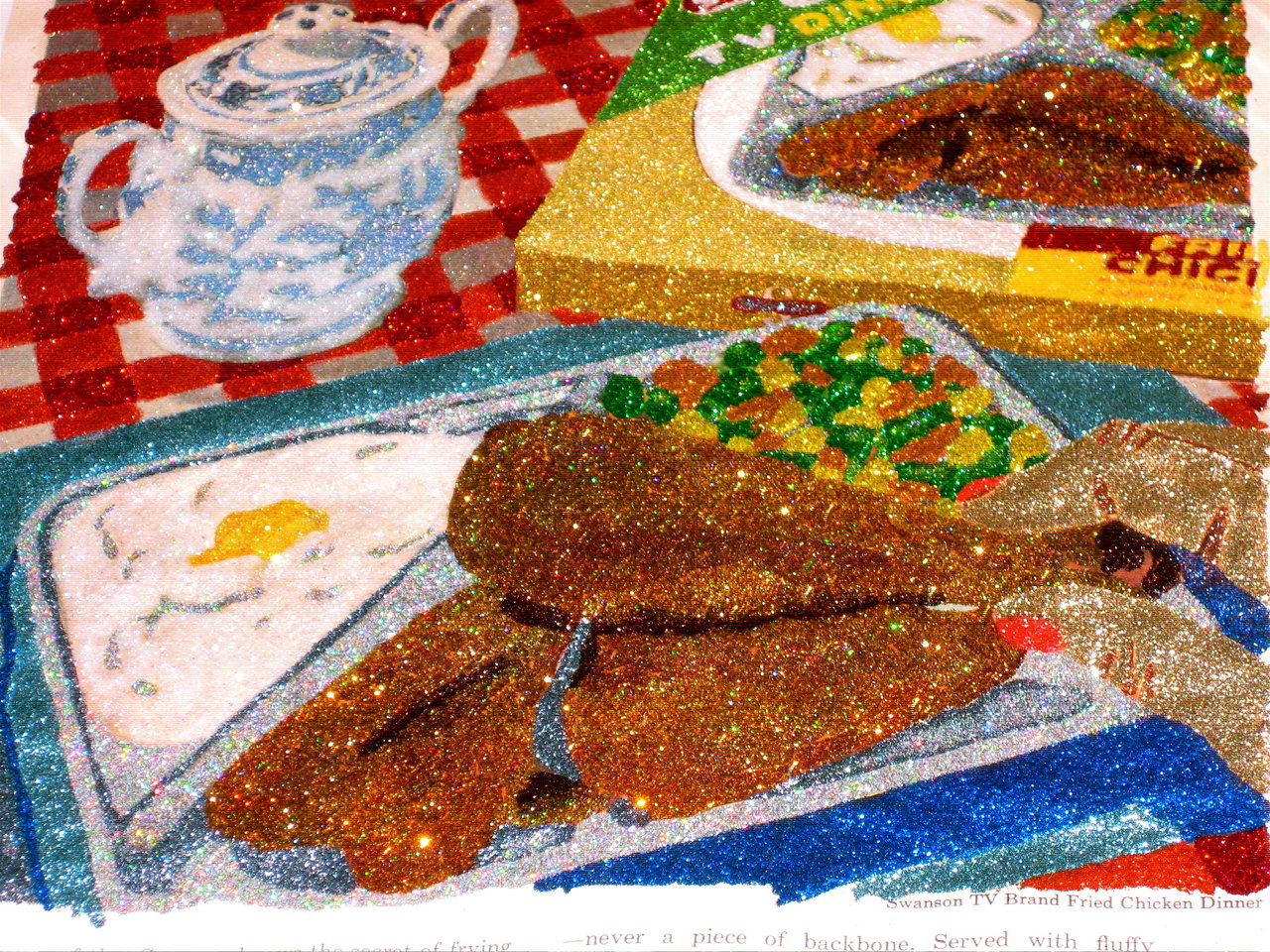 Glitter Pop Art TV Dinner Chicken