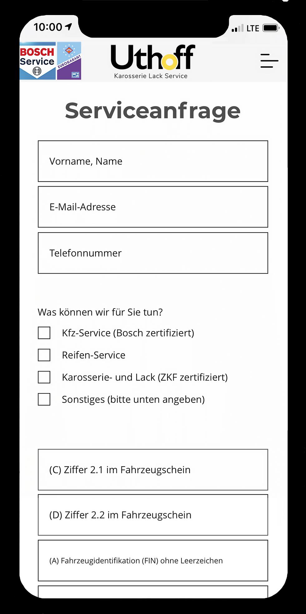 Serviceanfrage | Karosserie Lack Service Uthoff |Gerstetten