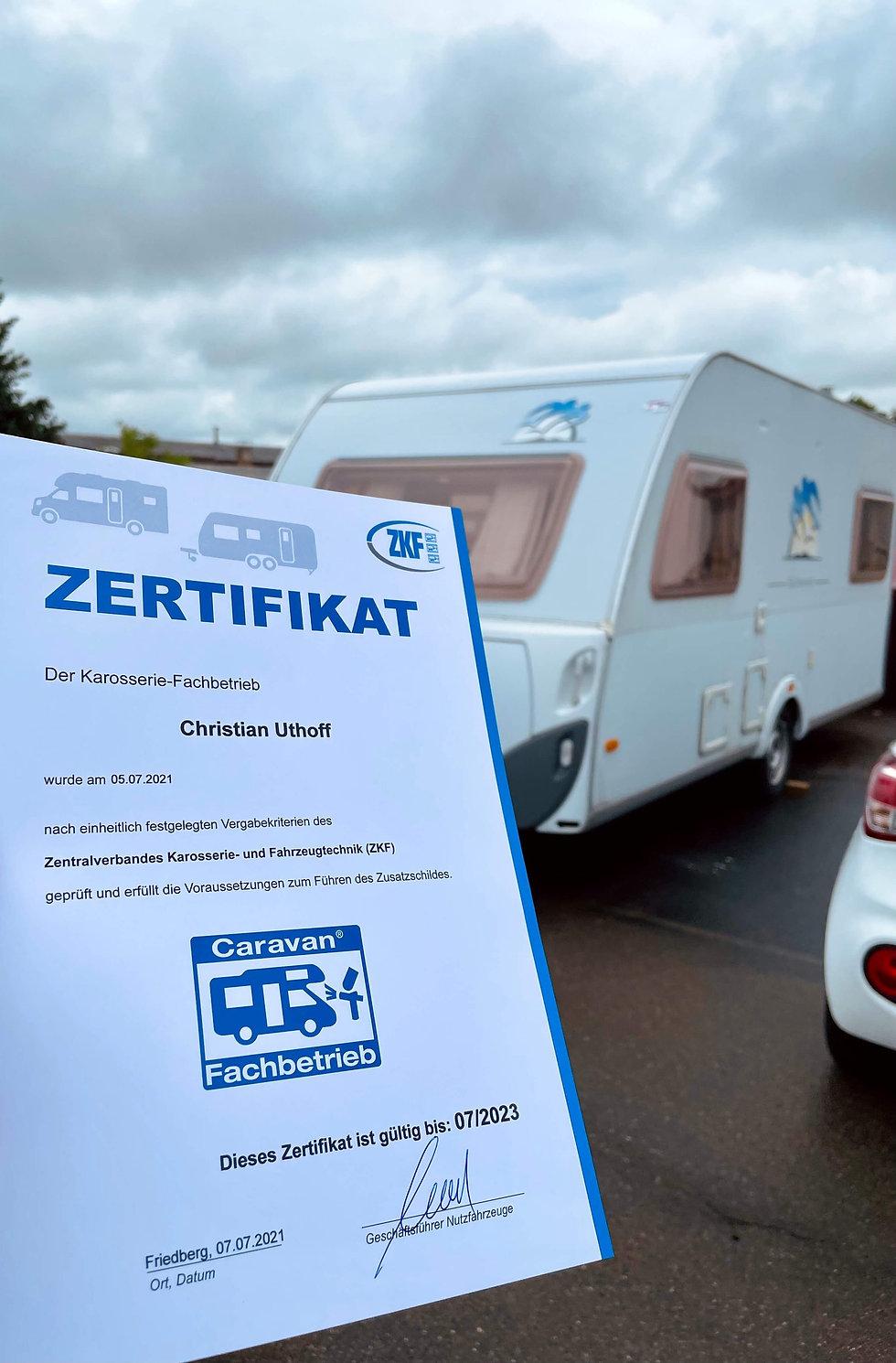 Wohnwagen Zertifikat | Karosserie Lack Service Uthoff |Gerstetten