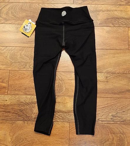 Fabric Waistband Black Capri with White Contrast Stitching