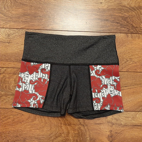 S Red Elephants on Parade Shortie Shorts
