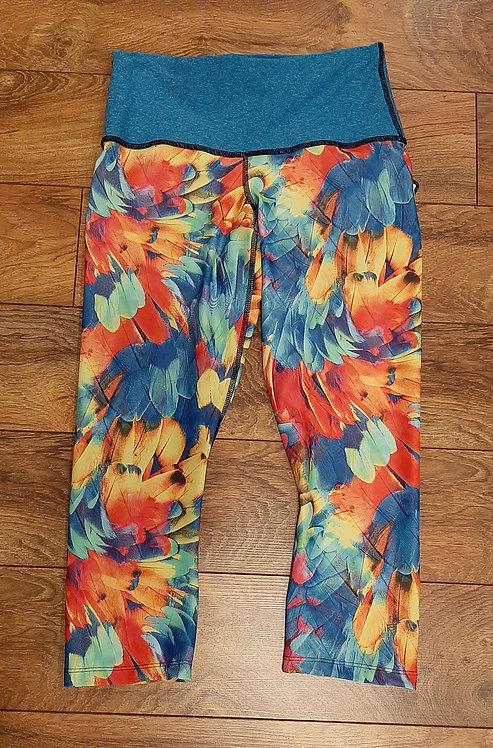Tropical Feather Capri Pants