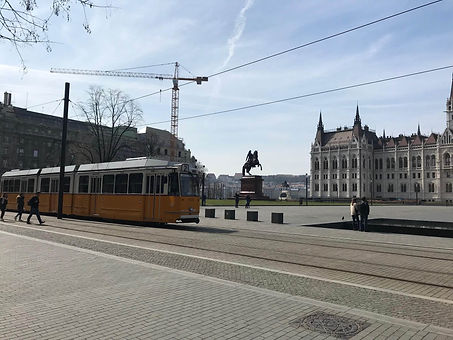 Public transport and open square in cent